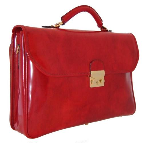 Piccolomini: Radica Range Collection – Single Compartment Briefcase in Cherry