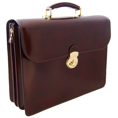 Verrocchio Triple Compartment Leather Briefcase - Coffee