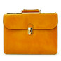 Verrocchio Triple Compartment Leather Briefcase - Mustard