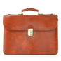 Verrocchio Triple Compartment Leather Briefcase - Brown