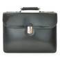 Verrocchio Triple Compartment Leather Briefcase - Black