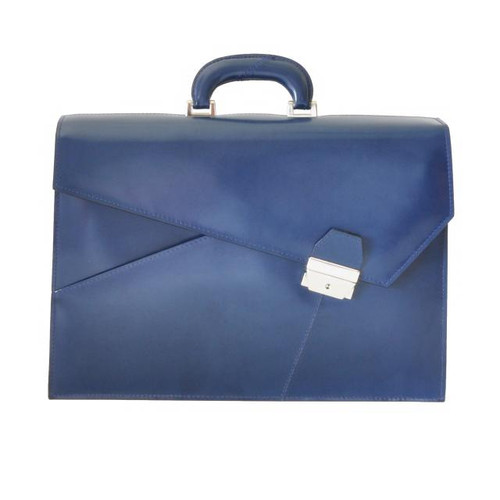Leon Alberti: Radica Range Collection – Double Compartment Italian Calf Leather Document Briefcase in - Blue
