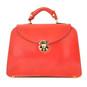 Veneziano: Radica Range Collection – Large Italian Calf Leather Top Handle Grab Handbag in  Cherry