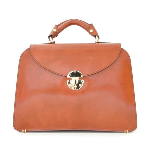 Veneziano: Radica Range Collection – Large Italian Calf Leather Top Handle Grab Handbag in Marrone