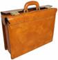 Lorenzo Magnifico II: Radica Range Collection – Triple Compartment Italian Calf Leather Briefcase in - Mustard