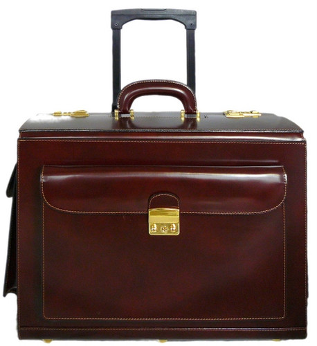Arnolfo Radica Range Collection – Single Compartment Italian Calf Leather Briefcase Trolley in- Coffee