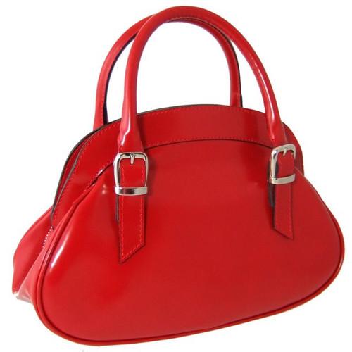 Giotto: Radica Range Collection – Buckle Strap Italian Calf Leather Handbag in Cherry