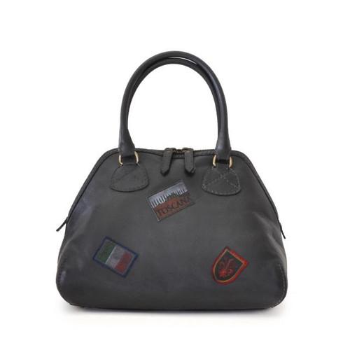 Capalbio: Bruce Range Collection –  Medium Italian Calf Leather Patchwork Top handle Tote Handbag in Black