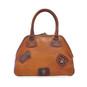 Capalbio: Bruce Range Collection –  Medium Italian Calf Leather Patchwork Top handle Tote Handbag in- Cognac