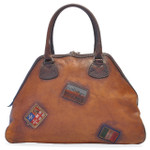 Capalbio: Bruce Range Collection – Grande Italian Calf Leather Patchwork Top handle Tote Handbag in Brown