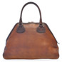 Capalbio: Bruce Range Collection – Grande Italian Calf Leather Patchwork Top handle Tote Handbag in Brown Back View