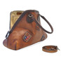 Capalbio: Bruce Range Collection – Grande Italian Calf Leather Patchwork Top handle Tote Handbag in Brown Open View