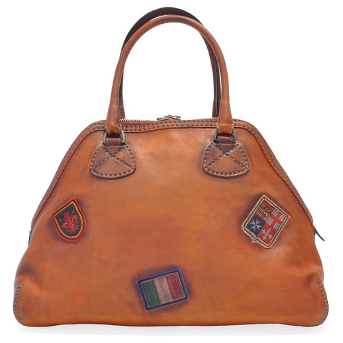 Capalbio: Bruce Range Collection – Grande Italian Calf Leather Patchwork Top handle Tote Handbag in Cognac