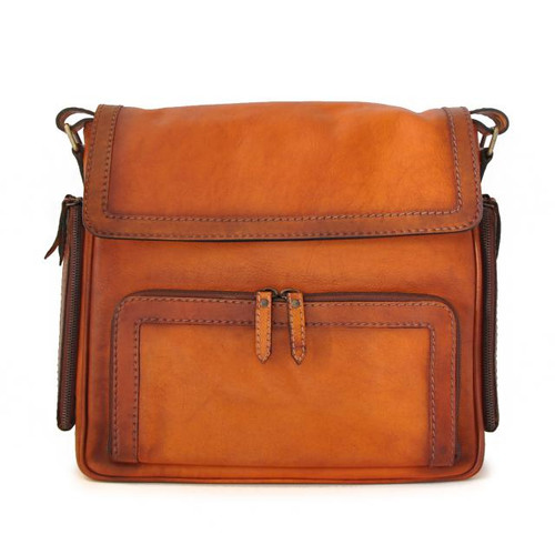 Elba: Bruce Range Collection – Italian Calf Leather Crossbody Satchel Bag in Cognac