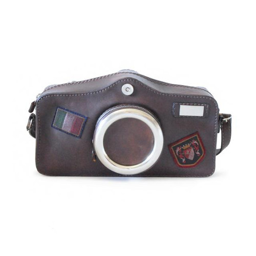 Photocamera: Bruce Range Collection – Italian Calf Leather Shoulder Bag in Coffee