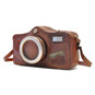 Photocamera: Bruce Range Collection – Italian Calf Leather Shoulder Bag in Brown side view
