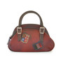 Giotto: Bruce Range Collection – Buckle Handle Italian Calf Leather Handbag in Cherry