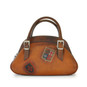 Giotto: Bruce Range Collection – Buckle Handle Italian Calf Leather Handbag in Cognac