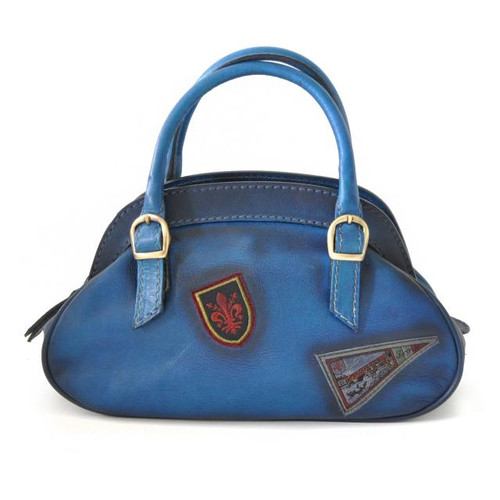 Giotto: Bruce Range Collection – Buckle Handle Italian Calf Leather Handbag in Blue