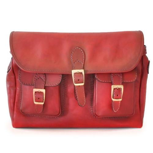 Maremma: Bruce Range Collection – Italian Calf Leather Cross-body Messenger Bag in - Cherry