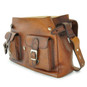 Maremma: Bruce Range Collection – Italian Calf Leather Cross-body Messenger Bag in Brown (Sideview Flap Open)
