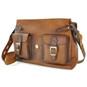 Maremma: Bruce Range Collection – Italian Calf Leather Cross-body Messenger Bag in Brown (Head on Flap Open)