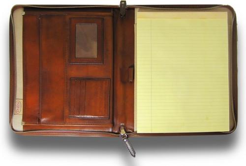 Dante: Bruce Range Collection –Italian Calf Leather Zip-Around Padfolio in Brown  - Open View