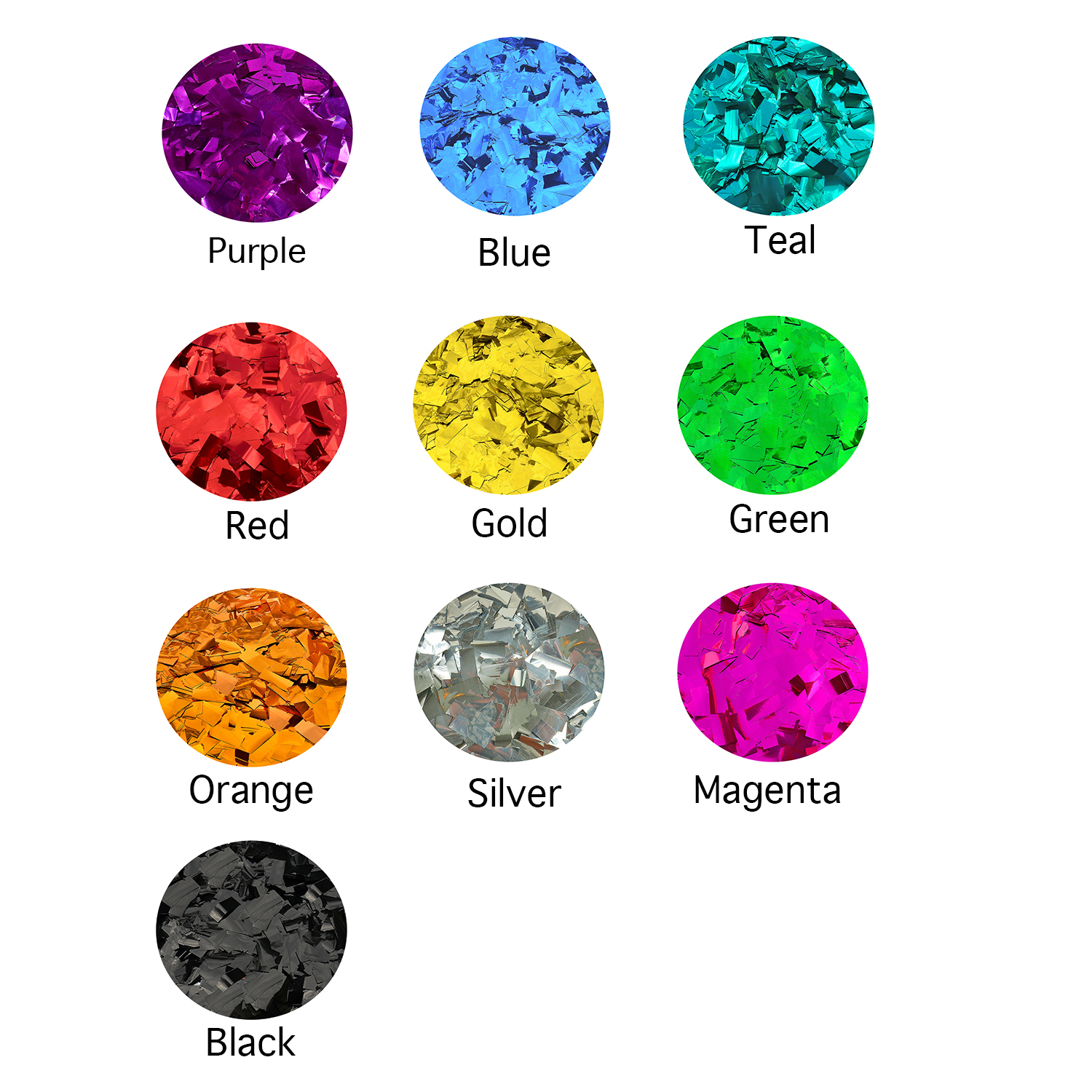 Metallic Color Chart | Confetti Colors | Flutter FETTI