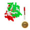 "6"" Holiday Flutter Flicker® Filled w/Green/Red/White Tissue - Hand Flick Launcher"