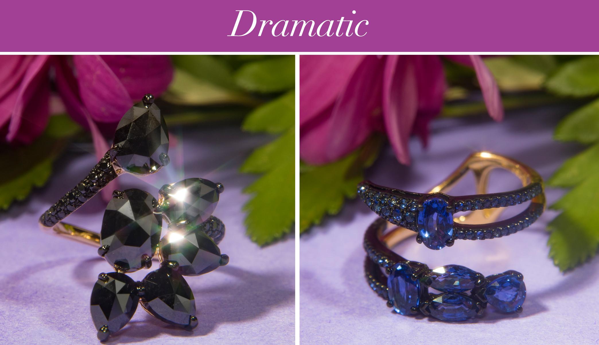 Etho Maria Black Diamond and Sapphire Rings