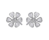 Rose Cut Diamond Flower Stud Earrings in Platinum