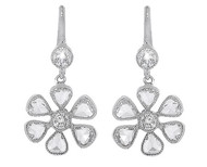 Rose Cut Diamond Flower Leverback Earrings in Platinum