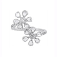 Rose Cut Diamond Double Flower Ring in Platinum
