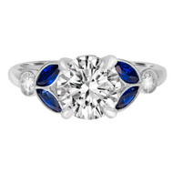 Vintage Style Diamond Engagement Ring with Sapphires