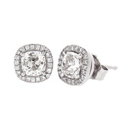 Cushion Cut Diamond Stud Earrings in Platinum
