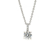 Brilliant Cut Diamond Pendant in White Gold
