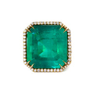 Emerald Diamond Halo Ring in 18k Yellow Gold