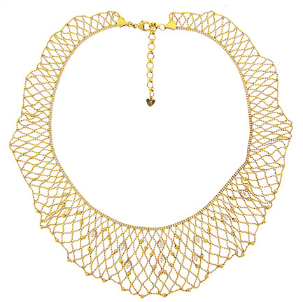 Gold Lace Necklace with Diamonds