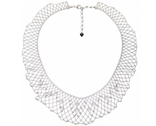 White Gold Diamond Encrusted Lace Necklace