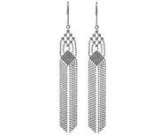White Gold Tassel Faceted Bead Earrings