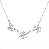 Rose Cut Diamond Flowers Platinum Chain Necklace