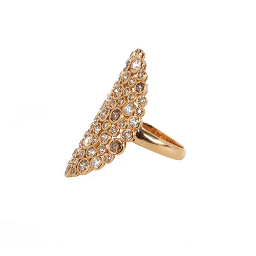 White and Cognac Diamond Oval Ring in Rose Gold
