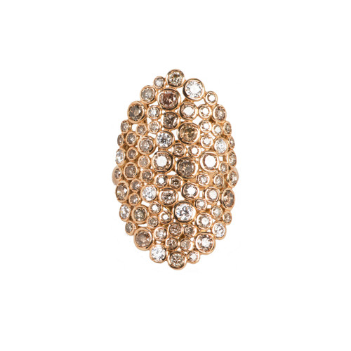 Casato 18k Rose Gold Oval Ring With White And Cognac