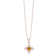 Lisa Nik 18K Rose Gold Citrine and Diamond Fleur de Lis Necklace