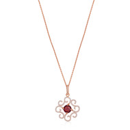 Lisa Nik 18K Rose Gold Garnet and Diamond Swirl Necklace