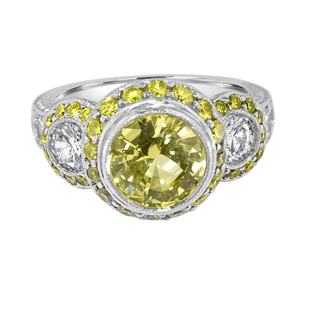 361e31d6de867 Yellow Sapphire Vintage Style Engagement Ring with Yellow Diamonds