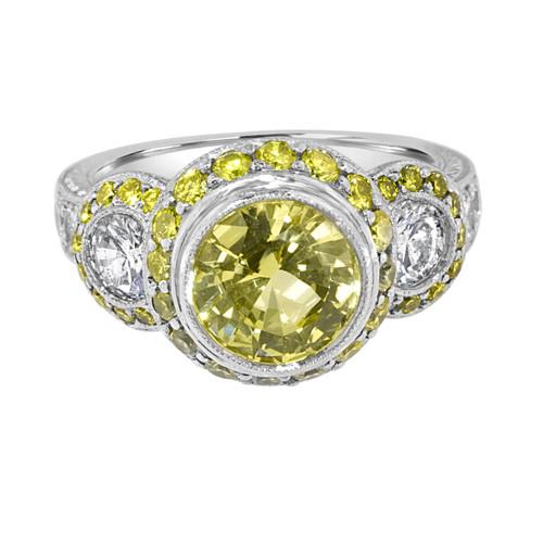 Yellow Sapphire and Diamond Engagement Ring