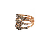 Cognac Diamonds and Rose Gold Triple Band Ring, available at Soho Gem Online Jewelry Store