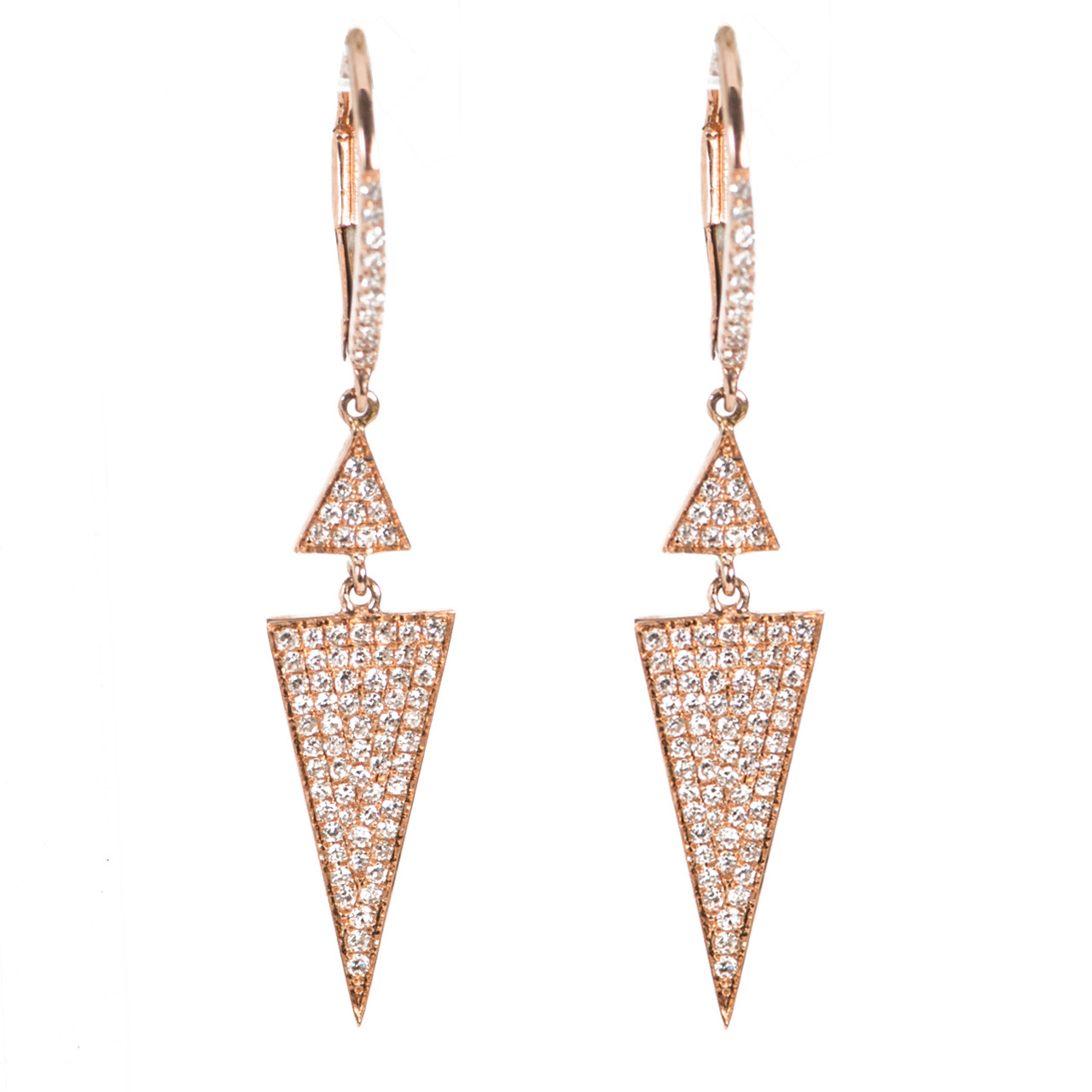 158ba1992b57b3 ROSE GOLD TRIANGLE DANGLE EARRINGS WITH MICRO PAVE DIAMONDS BY DOVES |  DESIGNER JEWELRY DOWNTOWN NYC