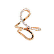 Rose Gold High Polish Modern Open Swirl Ring with Diamonds